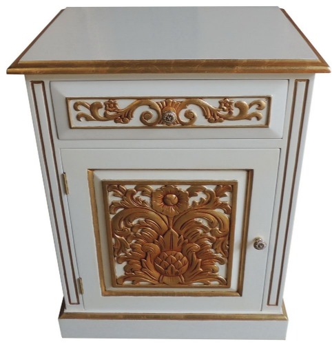 Bedside with Carved Front in White and Gold